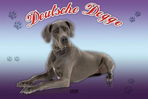 Schatzmix Blechschild Deutsche Dogge 1888 Hund Metallschild 20x30 cm Wanddeko tin sign
