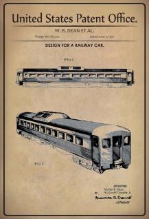 Blechschild Patent Entwurff für Eisenbahnwagon Metallschild Wanddeko 20x30 cm tin sign