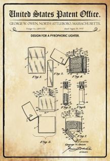 US Patent Office - Design for a Pyrophoric Lighter - Entwurf für ein Pyrophorisches Feuerzeug - Owen, Massachusetts, 1957 - Design No 2.803.123 - Blechschild
