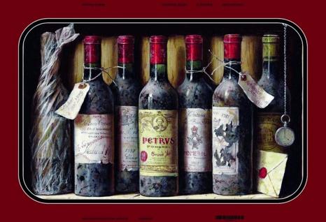Alte Rot wein flaschen in regal blechschild