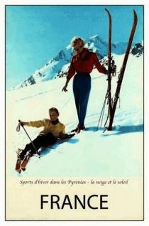 Nostalgie: France Sports d'hiver Pyrènèes Blechschild 20x30 cm