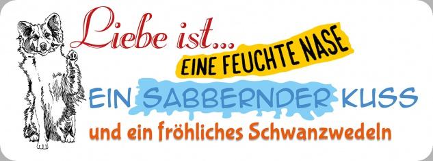 Blechschild Spruch Liebe ist Hund Metallschild 27x10 cm Wanddeko tin sign