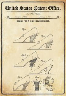 US Patent Office - Design for High Heel Shoes - Entwurf für Schuhen mit hohen Absätzen - Ness, 1919 - Design No 1.293.992 - Blechschild