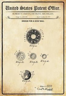 Blechschild Patent Entwurf für einen Golfball- Smith Metallschild Wanddeko 20x30 cm tin sign
