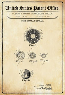 US Patent Office - Design for a Golf Ball - Entwurf für einen Golfball - Smith, Detroit - Design No 2.181350 - 1939 - Blechschild