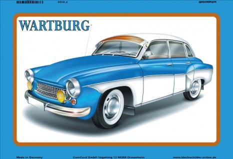 Wartburg auto blau blechschild