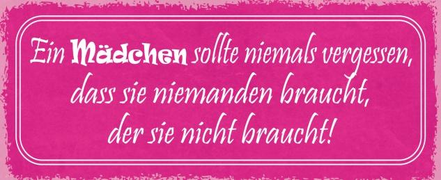 Blechschild Spruch Ein Mädchen sollte niemals vergessen Metallschild 27x10 Deko