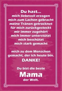 Blechschild Spruch Für die beste Mama der Welt Metallschild Wanddeko 20x30 cm tin sign - Vorschau 1