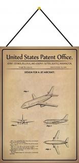 Blechschild Patent Entwurf Passagier -Düsenflugzeug Deko 20 x 30 m.Kordel