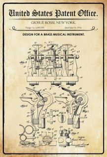 US Patent Office - Design for a Brass Musical Instrument - Entwurf für einen Messing Musikinstrument - Rossi - 1914 - Design No 1.100199 - Blechschild