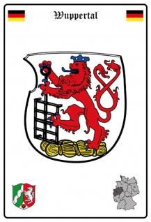Blechschild Stadt Wuppertal Wappen Straßen Metallschild Wanddeko 20x30 cm tin sign