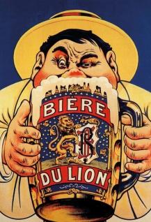 Blechschild Alkohol Biere du Lion mit Krug Metallschild Wanddeko 20x30 tin sign