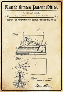 Blechschild Patent Entwurf für Bügeleisen-Slonaker Metallschild Wanddeko 20x30 cm tin sign