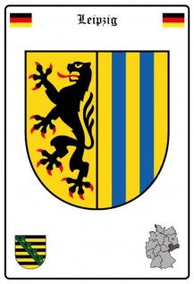Blechschild Stadt Leipzig Wappen Straßen Metallschild Wanddeko 20x30 cm tin sign