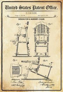 Blechschild Patent Entwurf für ein Babystuhl Metallschild Wanddeko 20x30 cm tin sign