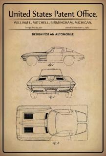 Blechschild Patent Entwurf für Kraftfahrzeug Mitchell Metallschild Wanddeko 20x30 cm tin sign