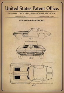 US Patent Office - Design for an Automobile - Entwurf für Kraftfahrzeuge - Mitchell, Michigan 1962 - Design No 193.550 - Blechschild