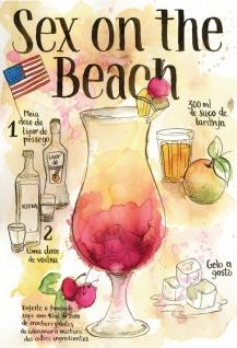 Cocktail Rezept recipe Sex on the Beach vodka USA helle hintergrund blechschild