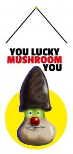 Blechschild Spruch You lucky mushroom you Metallschild Wanddeko 20x30 mit Kordel