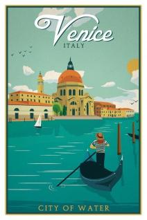 Schatzmix Blechschild Venice City of Water Metallschild 20x30 cm Wanddeko tin sign