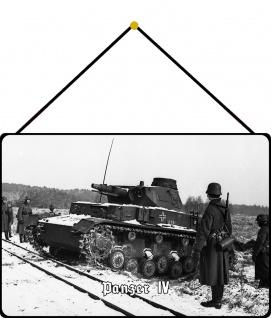Blechschild Panzer IV (im Schnee) Metallschild Wanddeko 20x30 mit Kordel