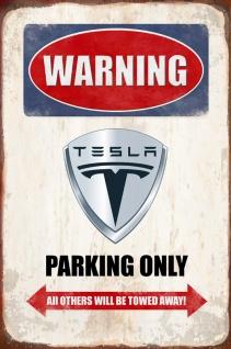 Warning Tesla parking only blechschild