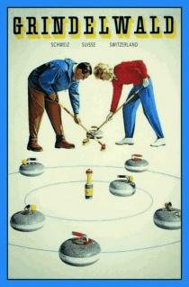 Grindelwald / Schweiz (Curling) Blechschild 20x30 cm