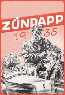 Blechschild Retro Zündapp 1935 (Fahrer mit Beiwagen) Metallschild Wanddeko 20x30cm tin sign