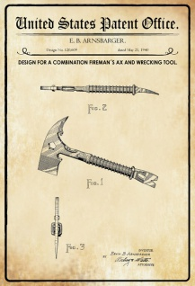 US Patent Office - Design for A Combination fireman's Axe and Wrecking Tool - Entwurf für ein Feuerwehr Axt und Abrisswerkzeug - Arnsbarger, 1940 - Design No 120.609 - Blechschild