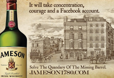 Jameson Irish Whisky The Missing Barrel facebook alkohol blechschild
