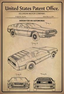 Blechschild Patent Entwurf Kraftfahrzeug-Delorean Metallschild Wanddeko 20x30 cm tin sign