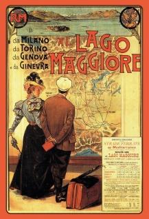 Nostalgie: Lago Maggiore Metallschild Wanddeko 20x30 cm tin sign