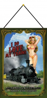 Blechschild Pinup girl i do love trains Metallschild 20x30 cm Deko mit Kordel
