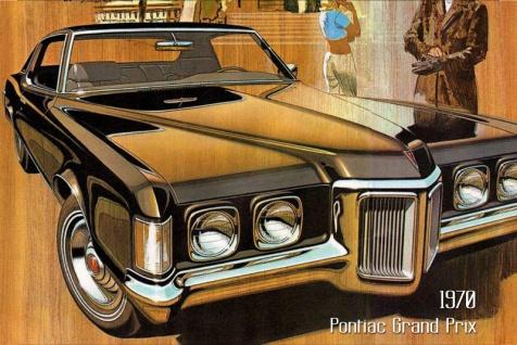 Pontiac Grand Prix 1970 Auto reklame blechschild, us, schwarz