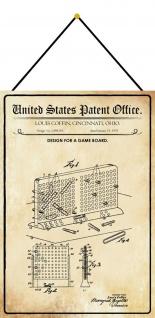 Blechschild Patent Entwurf für Brettspiel Metallschild Deko 20 x 30 m.Kordel