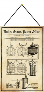 Blechschild Patent Entwurf für die Bierherstellung Metallschild 20 x 30 m.Kordel