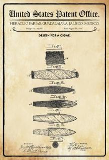 US Patent Office - Design for a Cigar - Entwurf für ein Zigarre - Farias, Mexico, 1887 - Design No 368.643 - Blechschild