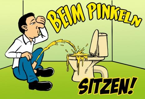 """"""" Beim Pinkeln Sitzen"""" - blechschild, lustig, comic, toilette humor, spruchschild, dekoschild, metallschild"""