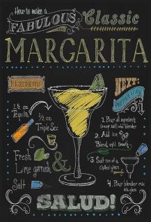 Cocktails Rezepte recipe Margarita Tequila Triple Sec alkohol schwarz hintergrund blechschild