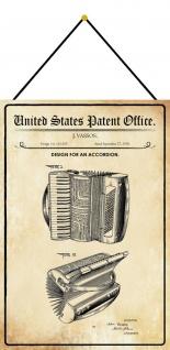 Blechschild Patent Entwurf für eine Ziehharmonika Metallschild 20 x 30 m.Kordel