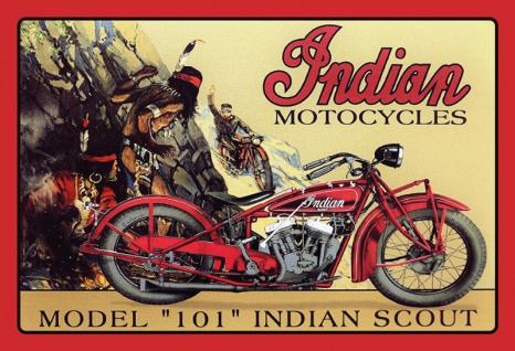 Indian Motorcycles 101 Indian scout Blechschild