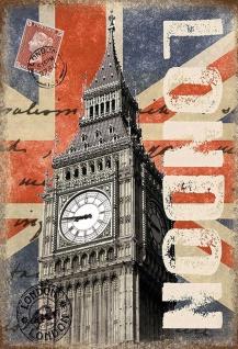 London Big Ben Metallschild Wanddeko 20x30 cm tin sign
