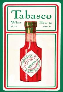 Tabasco sauce was ist es und wie mann es benutzt blechschild