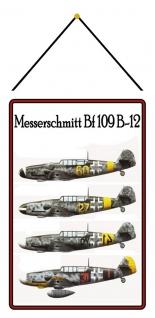 Blechschild Flugzeug: Messerschmitt BF109 Luftwaffe Metallschild mit Kordel