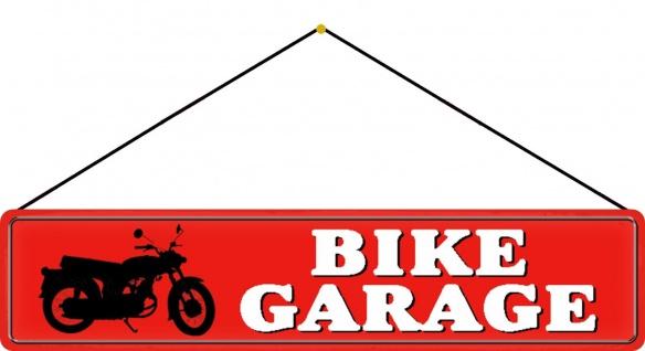 Blechschild Straßenschild Bike Garage Motorrad Metallschild 46x10 cm mit Kordel