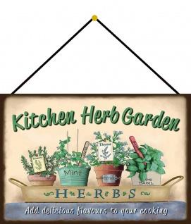 Blechschild Garten Kitchen Herb Metallschild Deko 20x30 mit Kordel