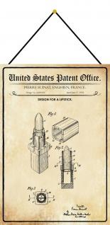 Blechschild Patent Entwurf für einen Lippenstift Metallschild 20 x 30 m.Kordel