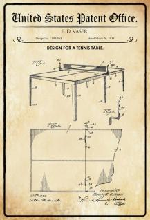 Blechschild Patent Entwurf für Tischtennis-Tisch Metallschild Wanddeko 20x30 cm tin sign