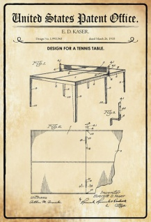 US Patent Office - Design for a Tennis Table - Entwurf für einen Tischtennis Tisch - Kaser - 1935 - Design No 1.995543 - Blechschild