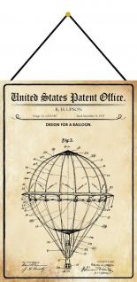 Blechschild Patent Entwurf für einen Heißluftballon Metallschild 20 x 30 Kordel
